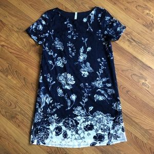 NAVY and white floral lace overlay mini dress